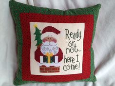 Lizzie Kate Christmas Cross Stitch Pillow Ready by homecrafting, $22.50