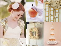 A Peaches and Glimmer Wedding-   I adore the colour combination of peaches, creams and soft golds.