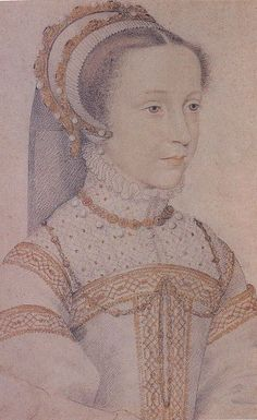 Mary Queen of Scots. Sketch of 12 or 13 year old Mary, by Francois Clouet, c1555. Clouet was court painter to Mary's father-in-law, King Henry II of France.