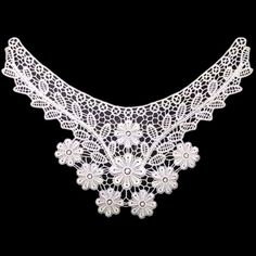 Qianle White Lace Neckline Collar Patch Embroidery Applique Clothes DIY * Want to know more, click on the image.