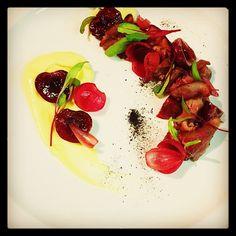 Venison Carpaccio Mustard CustardPreserved Cherries Pickled Pearl Onions Leek…