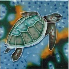 Loggerhead Turtle Decorative Ceramic Wall Art Tile 8x8