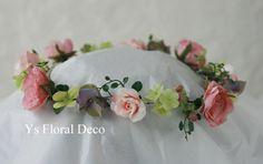 hk00269 アンティーク調の色合いの花冠とブーケ ys floral deco @ホテルモントレ銀座
