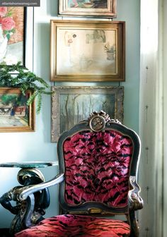 Striking chair.  Atlanta home... the black and aqua color scheme is elegant and rich