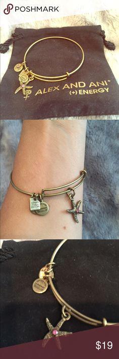 Alex and Ani Starfish bracelet Rafaelian Gold Alex and Ani bracelet. Starfish with pink stone detail. Alex & Ani Jewelry Bracelets