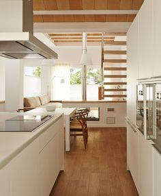 Image 10 of 25 from gallery of House Ca's Bouer / Jordi Queralt + La Boqueria. Photograph by Eugeni Pons Kitchen Interior, Kitchen Design, Kitchen Ideas, Bedroom Arrangement, Home Kitchens, Small Spaces, New Homes, Sweet Home, Floor Plans