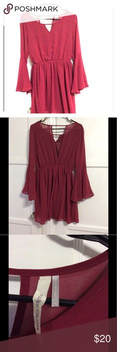 Paper Crane Long sleeve Red Dress Wore once years ago Paper Crane Dresses Long Sleeve