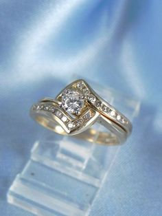 1.50 CT Yellow Gold Over Round Diamond Engagement Wedding Bridal Band Ring Set #affordablebridaljewelry #SolitairewithAccents