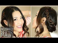▶ Festival Hair: EASY Milkmaid Braids! - YouTube