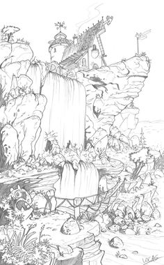 Clifftop Tavern by legrosclown on DeviantArt Animal Coloring Pages, Coloring Book Pages, Waterfall Drawing, Landscape Drawings, Landscapes, Perspective Art, Doodle Coloring, Environment Concept Art, Drawing Skills