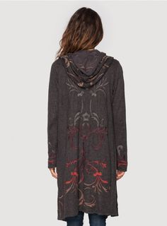 Layandalyn Long Hoodie Charcoal Bohemian Frontier by Johnny Was...