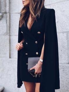 Double-Breasted Cloak Design Blazer Dress 6f46c2b4556