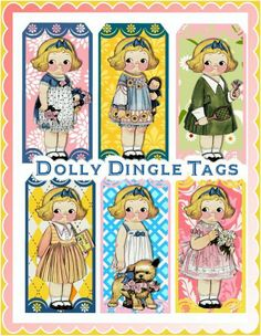Dolly Dingle Vintage Paper Doll Tags