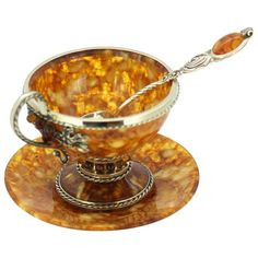 For Sale on - Vintage Russian silver and amber tea cup set Made in Russia, circa, Fully hallmarked Dimensions: Cup size x x cm Weight 122 grams Plate Antique Tea Sets, Tea Sets Vintage, Vintage Cups, Vintage Dishes, Vintage Coffee, Tea Cup Set, Tea Service, Cupping Set, Cup And Saucer