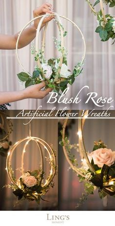 Handcrafted with blush and ivory open roses, rose buds, greeneries and vines on . - Handcrafted with blush and ivory open roses, rose buds, greeneries and vines on a bentwood spheres - Ivory Roses, Blush Roses, White Roses, Blush Pink, Diy Wedding, Wedding Flowers, Wedding Ideas, Wedding Reception, Perfect Wedding