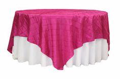 "Pintuck 90"" square Table Overlay - Fuchsia"