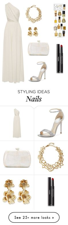 """oscar"" by ladyasdis on Polyvore featuring Elie Saab, René Caovilla, Serpui, Oscar de la Renta, Chanel, evening, formaldress and oscarevening"