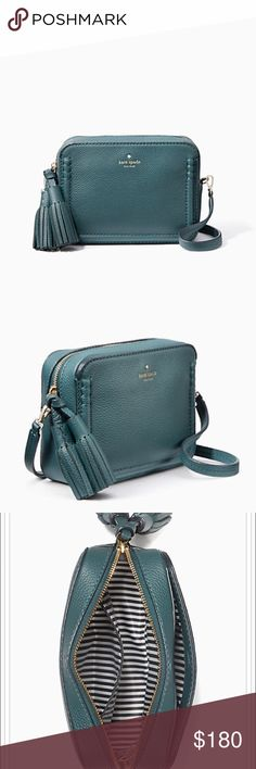 """Kate Spade ♠️ Orchard Street Arla NWT. Petite cross body with oversized tassels, pebbled cowhide with matte finish. Twill lining and 14K gold plated hardware. Comes with the original dust bag. COLOR: Emerald Forest            5.8"""" h x 7.8"""" w x 2.5 """" d with a 22"""" adjustable strap. kate spade Bags Crossbody Bags"""