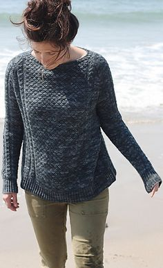 Jamestown is a relaxing  all-seasons pullover - the crossed stitches look like wicker furniture -free pattern by Amy Christoffers