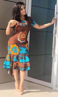 Beautiful floral print African Dress fashion Most beautiful African Print Ankara Gown Styles And Designs. Beautiful floral print African Dress fashion Most beautiful African Print Ankara Gown Styles And Designs. Short African Dresses, Latest African Fashion Dresses, African Print Dresses, African Print Fashion, Ankara Fashion, Dress Fashion, Africa Fashion, African Prints, African Fabric