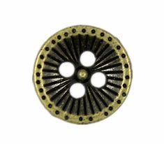 Metal Buttons  Antique Brass Dandelion Holes Buttons  by Buttonova, $3.50