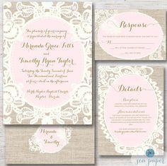 Lace & Burlap Rustic Wedding Invitation by SeaPaperDesigns on Etsy