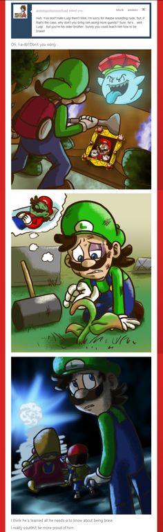 Ask Mario: Luigi& Bravery by on DeviantArt Super Mario And Luigi, Super Mario Art, Luigi And Daisy, Mario Comics, Mario Fan Art, Yandere Manga, Nintendo World, Cartoon Video Games, Paper Mario