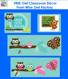 PreKandKSharing: Owl Theme Classroom Freebies, primary but maybe i can find something useable for middle school decor