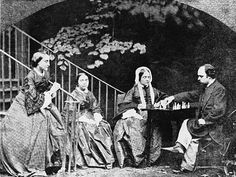 Cheyne Walk, Chelsea, London (1863): The Rossetti family: from left to right, Christina, Maria, and Frances, and Dante Gabriel Rossetti,  taken by Lewis Carroll