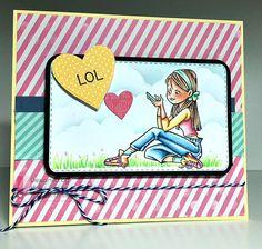 Erica texting rubber stamp-CC Designs Make a card #4 die- CC Designs