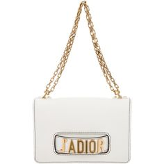 Pre-owned Christian Dior Spring 2017 J'aDior Flap Bag ($2,400) ❤ liked on Polyvore featuring bags, handbags, white, chain-strap handbags, pre owned handbag, chain handle handbags, christian dior handbags and white purse