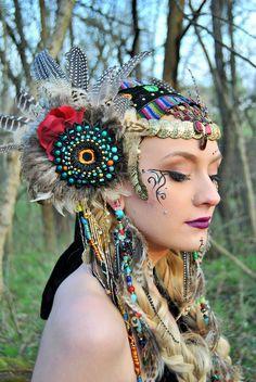 Headdress, feather headdress, bellydance headdress, festival headdress, Cosplay, Costume, photoshoot, Witch, Performer, burningman,gypsy by LipstickLunch on Etsy