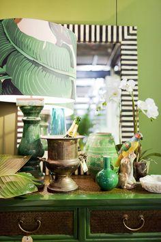 PAD Adore Aug/Sept 2012, green banana leaf Martinique, black, white, dresser