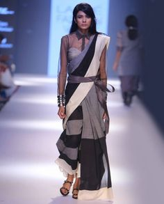 Black and Gray Sari with Embroidered Blouse - MYOHO by Kiran and Meghna* - Designers