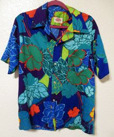 9be8e6ee Vintage Pomare Hawaiian Aloha Shirt Mod Psychedelic Floral Print Short  Sleeves Men's Large