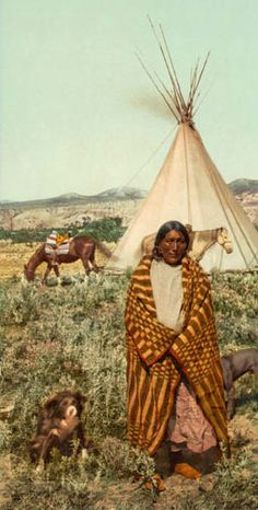 A photochrome print from It shows a Native American man in front of his Tipi on the Great Plains. The man is from the Crow tribe. Native American Print, Native American Pictures, Indian Pictures, Native American Women, American Indian Art, Native American History, Native American Indians, Native Indian, Native Art