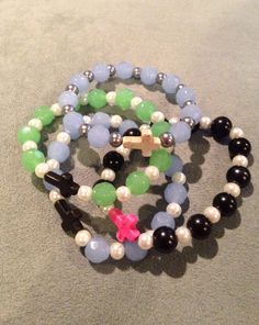 Howlite cross-glass beads-pearl beads-stretch bracelet- one size fits most on Etsy, $12.99