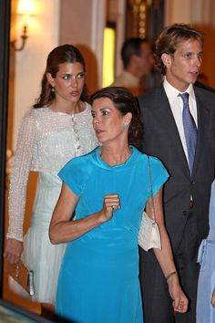 Part of Monaco's royal family - the beautiful Charlotte Casiraghi, her brother  Andrea Casiraghi and their mother Princess Caroline of Monaco
