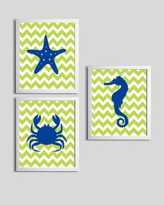 Beach Nursery Art Chevron Ocean Seaside Blue Green by ZeppiPrints, $48.00