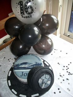 BOYS 16TH BIRTHDAY - Car and Tire Themed Birthday Cake with Silver and Black Balloons