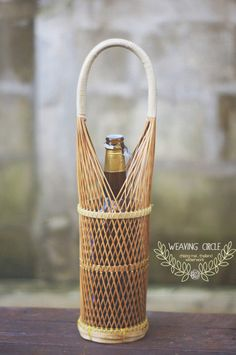 Timeless Bamboo Wine Holder Basket by WeavingCircle on Etsy, $20.00