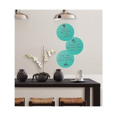 Wall Pops Calypso Dry-Erase Dots, Blue ($9.99) ❤ liked on Polyvore featuring home, home decor, office accessories, blue, brewster home fashions and dry erase