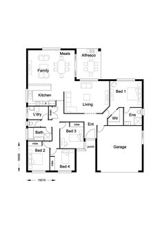 Infinity 217 - Hallmark Homes Modular Home Plans, Modular Homes, Hallmark Homes, 4 Bedroom House Plans, Sims 4 Houses, Tiny Apartments, Apartment Plans, House Layouts, Small House Plans