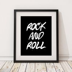 'Rock and Roll Print' Give your room some rockstar attitude with this print in white on a black background. Available from the March Hare Printing Co. on Etsy as a high-quality art print on paper, or a digital download to print yourself. Click the photo or the 'visit' button above to browse the shop or to buy in your own currency - we ship anywhere!