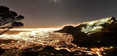 View over Cape Town at night Cape Town Accommodation, Wine Drinks, City Lights, Continents, South Africa, Cool Pictures, Scenery, Tours, Explore