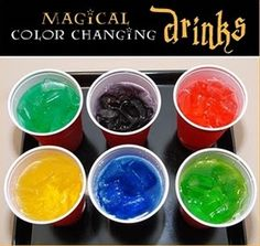 Kids will stare wide-eyed as they watch clear water or soda transform into a vibrant color? must be magic!  What you?ll need: Plastic party cups, food coloring, ice, and any clear drink (I used Sprite, Fresca and Ginger Ale).  Place 2 to 3 drops of food coloring at the bottom of each party cup and let dry. Just before serving the drinks, fill each cup with ice to hide the food coloring. While each child watches, pour the drink over the ice, and the clear water or soda will ?magically? turn…