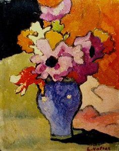 Louis Valtat, Anemones et tulipes au vase bleu