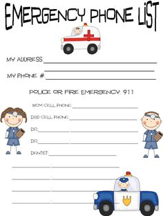 FREE Emergency Contact Phone Numbers and A Free Printable | April ...