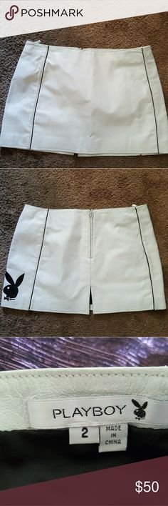 Women's Playboy Skirt Leather Size 2 This is a real leather skirt its a size 2 with a rear zipper. playboy Skirts Mini