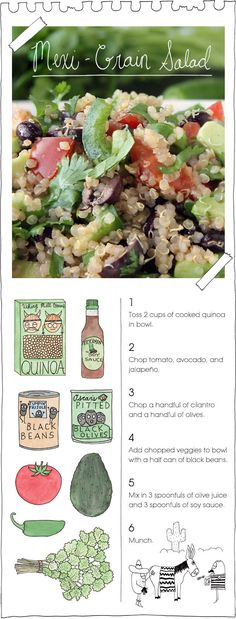 Mexi-Grain Salad --- Love the food on this site, along with the great illustrations. Really brings it to life and shows how easy these are to make... Brought to you by The Vegan Stoner